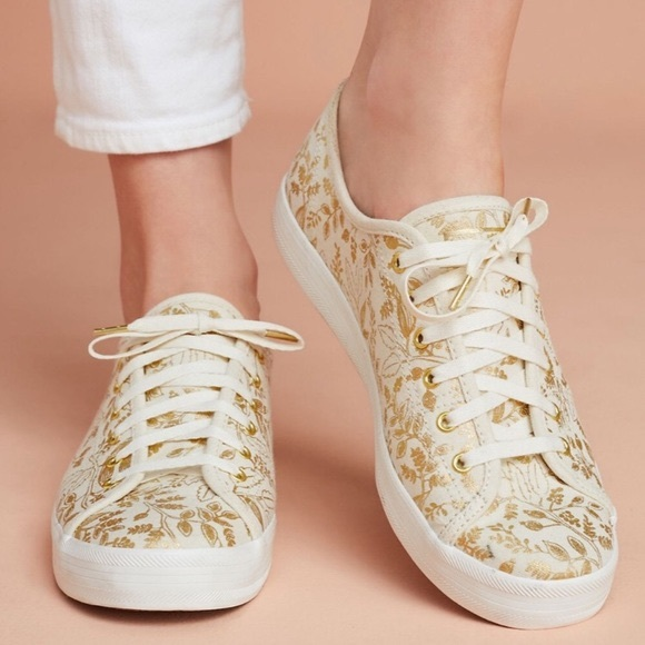 Anthro | Keds x Rifle Paper co Gold Print Sneakers